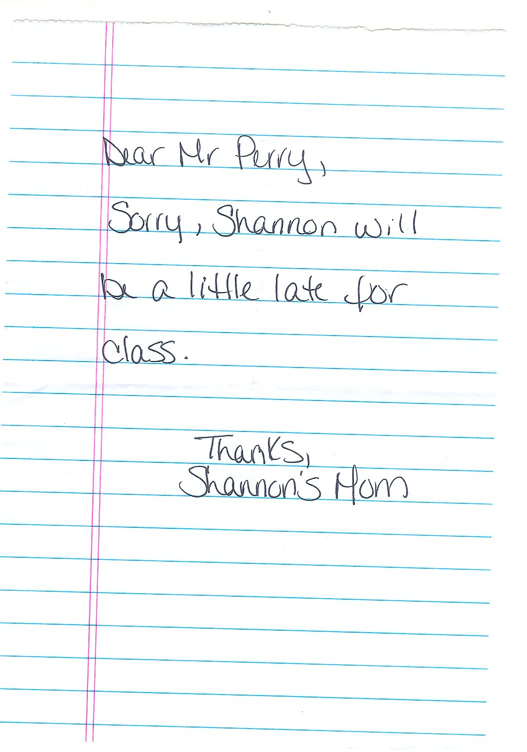 Shannon's excuse